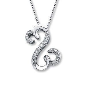 Open Hearts Necklace 1/20 ct tw Diamonds Sterling